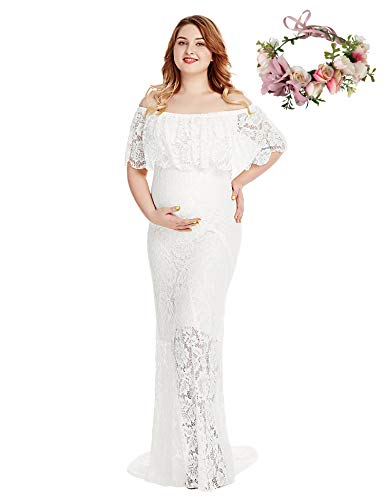 Women's Off Shoulder Short Sleeve Ruffles Lace Maternity Gown Maxi Photography Dress (White, X-Large)