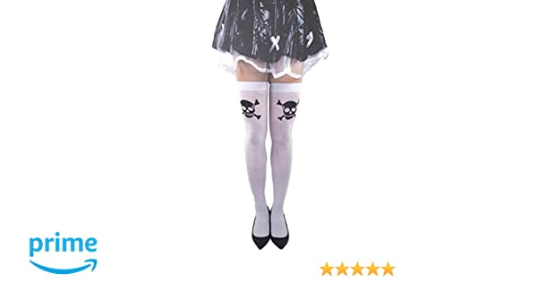 Adult Ladies Skull /& Crossbones Gothic Halloween Pirate Skeleton Tights Hosiery