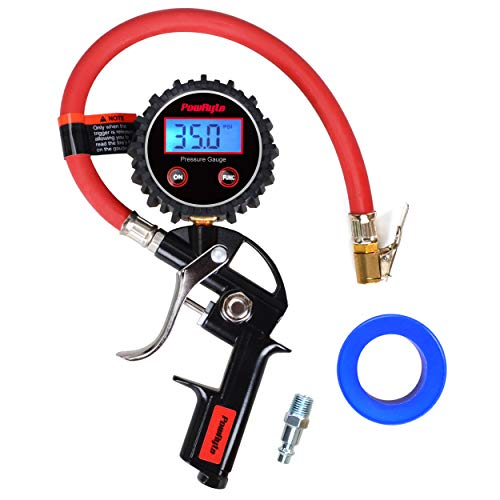 PowRyte Works Air Compressor Tire Inflator with 250 PSI High Accuracy Digital Tire Pressure Gauge and Air Chucks,Red