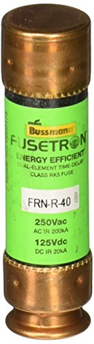 Bussmann FRN-R-40 40 Amp Fusetron Dual Element Time-Delay Current Limiting Fuse Class RK5, 250V UL Listed