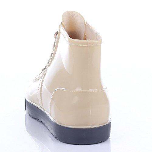 Qzunique Donna Impermeabile Stivali Da Pioggia In Gomma Antiscivolo Alla Caviglia Scarpe Da Pioggia Alta Albicocca