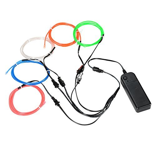 LUNSY EL Wire Lights Bright Portable Kits with AA Battery, LED Wire for Car Costumes Clothing Party Decoration, White/Blue/Red/Green/Pink ()