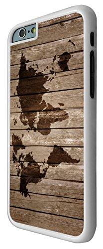 596 - Vintage Wood Design Look Vintage World Map Design iphone 6 Plus / iphone 6 Plus 5.5'' Coque Fashion Trend Case Coque Protection Cover plastique et métal - Blanc