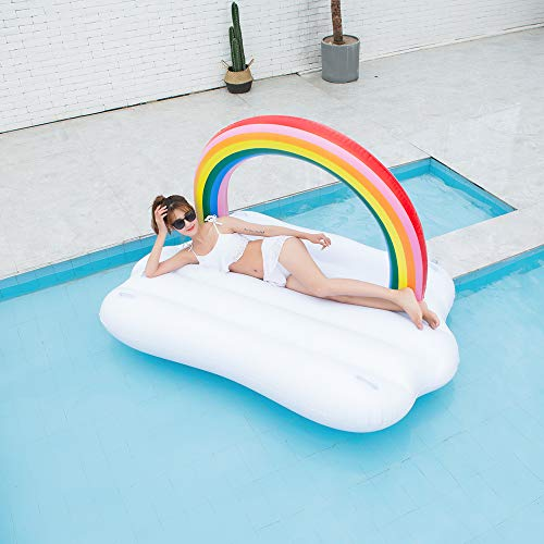 TechCode Inflatable Pool Float, Multi-Purpose Summer Inflatable Bad Portable Pool Float Mattress Sunbathe Comfort Lounge Bad Beach Mat Water Party Inflatable Float Holiday Toy,83x57x53 inch by TechCode (Image #3)