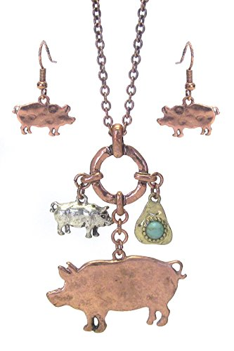 Piglet Jewelry - Farm Animal Pig Long Cluster Necklace Earring Set BX Piglets Silver Copper Tones