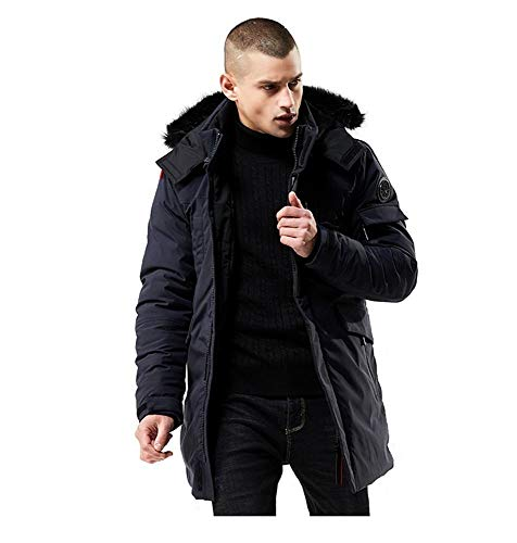 WEEN CHARM Men's Warm Parka Jacket Anorak Jacket Winter Coat with Detachable Hood Faux-Fur Trim Navy Blue (Parka Coats For Men With Fur Collar)