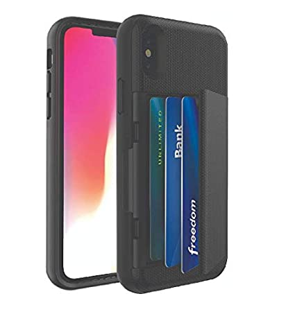 new arrivals f6e57 9fb96 Blackweb 9632601 Phone Case with Hidden Credit Card Holder & Stand for  iPhone X, Black