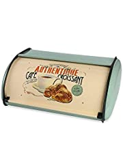 X459 Metal French Vintage Croissant Bread Box/Bin/Kitchen Storage Containers/Home Kitchen Gifts with Roll Top Lid(Blue)
