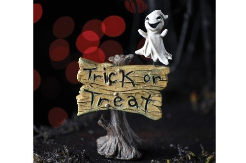 Trick-Or-Treat Sign W/ghost Fairy Garden