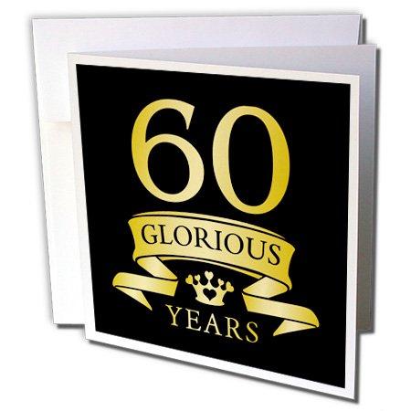 60th Celebration Anniversary, Tonal Yellow on Black - Greeting Card, 6 x 6 inches, single (gc_223314_5) 60th Wedding Anniversary Invitations