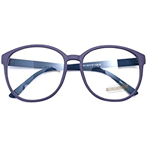 Oversized Big Round Horn Rimmed Eye Glasses Clear Lens Oval Frame Non Prescription (Matt Purple 89013)