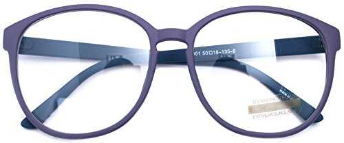 Oversized Big Round Horn Rimmed Eye Glasses Clear Lens Oval Frame Non Prescription (Matt Purple - Frames For Large Glasses Women