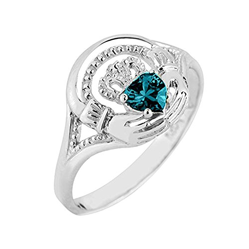 925 Sterling Silver Claddagh Promise Ring with December - December Birthstone Promise Rings