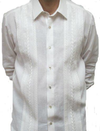 Penner's Men's Elegante Irish Linen Guayabera Shirt - Long Sleeve - White - Large by ABDALA
