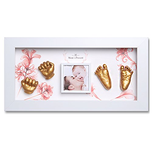 Momspresent Baby Hands and Foot Casting 3D Print DIY Kit with White Frame5 (gold) by Moms Present