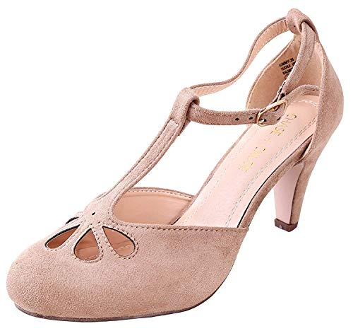 Chase & Chloe Women's Teardrop Cut Out T-Strap Mid Heel Pumps Taupe Suede 11 M US