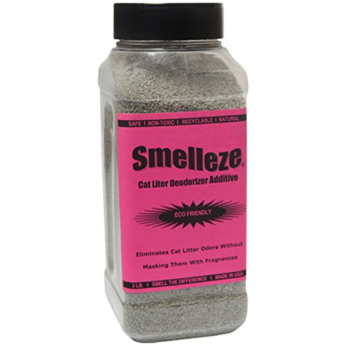 SMELLEZE Natural Cat Litter Smell Remover Deodorizer Additive: 2 lb. Granules Rid Waste - Zeolite Charcoal