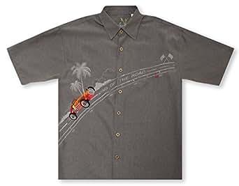 Bamboo cay king of the road grey hawaiian shirt at for Bamboo button down shirts