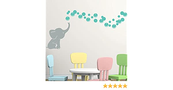 gry turquoise Choose Elephant and Bubble Color Makes a great baby shower gift nursery room decor Elephant Bubbles with Name Vinyl Wall Decal Custom