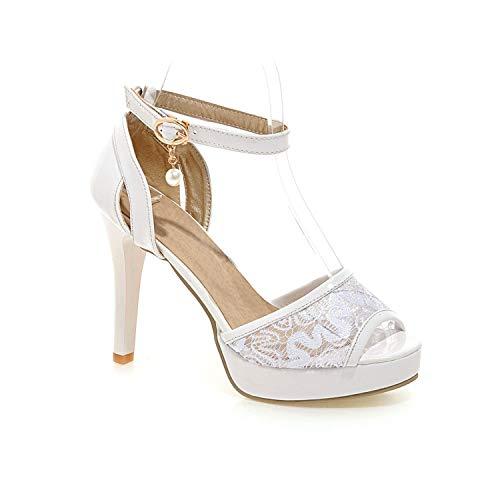 Blue Skieses Ladies Shoes Summer Gladiator Sandals Women High Heels Platform Sandals Party Wedding Shoes Woman,White,10 -