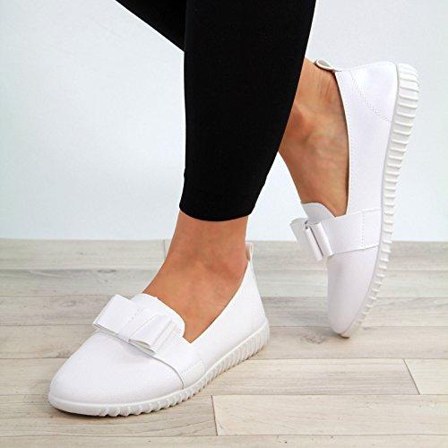 Flat Größen Weiß Pumps Leinenschuhe Womens Slip Casual Bow New Bequeme Sneakers Schuhe Larena Fashion On w6q0xWUnFH
