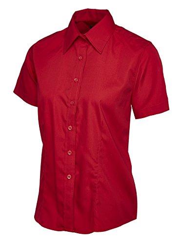 Lavoro Mid a Popeline corta manica Camicia Business Uniforme Donna Blue Casual formale HfFqTSS