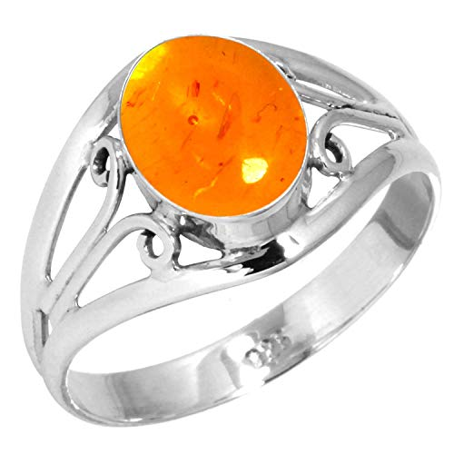 Amber Ring 925 Sterling Silver Handmade Jewelry Size 8