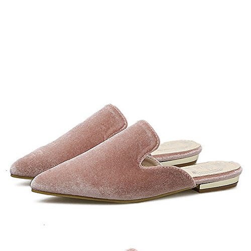CYBLING Womens Backless Slip On Loafers Pointed Toe Mule Slipper Shoes Pink TR7UpKds