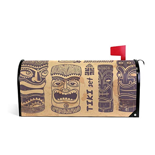 Vintage Aloha Tiki Set Print Mailbox Covers Magnetic Standard Size Mail Boxes Makeover Mail Wraps Cover Letter Post Box