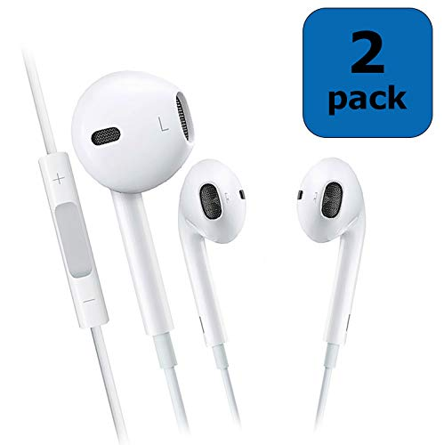 ChefzBest, 2-Pack Premium 3.5 mm Earphones/Earbuds/Headphones Stereo Mic&Remote Control Compatible iPhone iPad iPod Samsung Galaxy and More Android Smartphones - White by ChefzBest