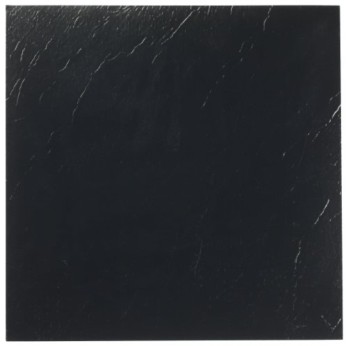 Achim Home Furnishings FTVSO10120 Nexus 12-Inch Vinyl Tile, Solid Black, 20-Pack - Black Square Flooring