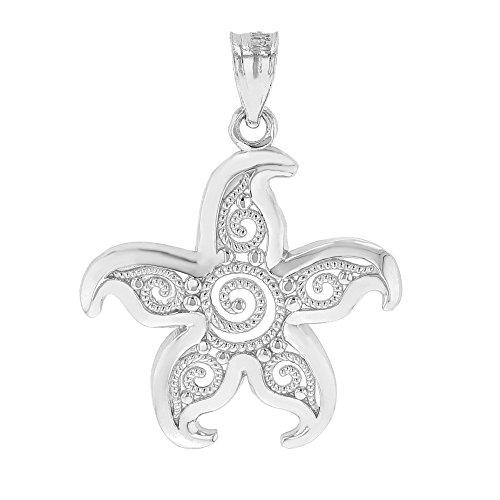 10k Gold Filigree Starfish Pendant (white-gold)