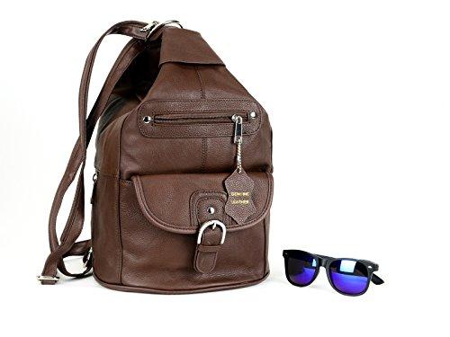24f4f813dfbb Women Genuine Leather Sling Purse Handbag Shoulder Bag Backpack Slouch  Organizer with Free Wayfarer REVO Sunglasses - Buy Online in Oman.