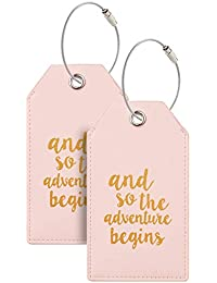 Luggage Tags with Full Back Privacy Cover w/Steel Loops (pink 02 pcs set)