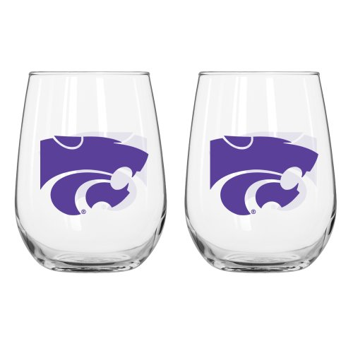 NCAA Kansas State Wildcats Curved Beverage Glass, 16-ounce, (Ncaa Kansas State Wildcats Glass)
