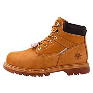 kingshow GW Men's 1606ST Wheat Steel Toe Work Boots 10 M US