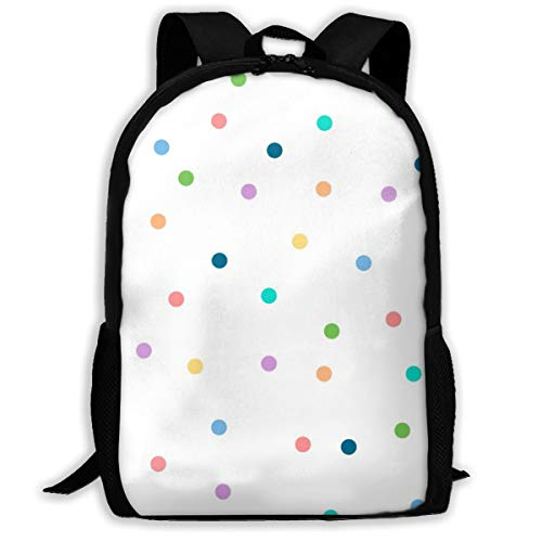 Backpack Water Resistant Men Women Hiking Daypack Polka Dots to The Max (White) Circles Geometric Baby Nursery Kids Children Party Confetti_1730 Travel Backpack