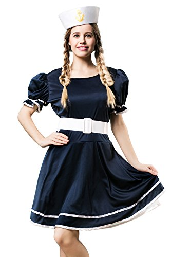Adult Women Sassy Ship Mate Sailor Girl Babe Costume Role Play Cosplay Dress Up (Small/Medium, Navy Blue, White) (Womens Ship Mate Costumes)
