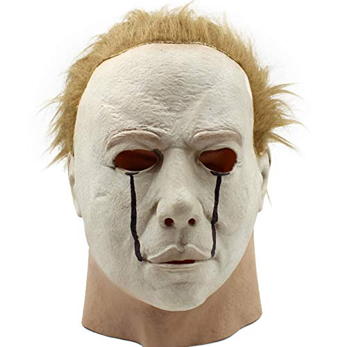 Head Mask, Halloween Creepy Latex Head Mask, Realistic Novelty Horror Scary Cosplay Costume Props for Halloween,Party,DIY(White)