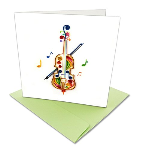 Cello with Musical Notes Quilling Greeting Card, 6x6