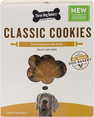 Three Dog Bakery Classic Cookies With Peanut Butter Chips Treats For Dogs, 13 Oz