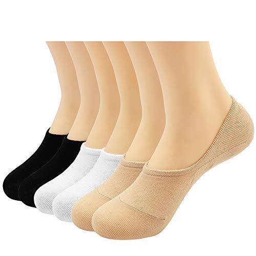 Women's 6 Pairs Casual Thin No Show Socks Non Slip Flat Boat Line(Multicolor B)