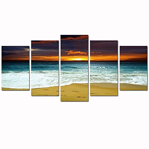 sechars – 5 Piece Beach Canvas Wall Art Amazing Sea Sunrise Pictures Ocean Wave Landscape Canvas Print Framed Artwork for Modern Home Bedroom Decor Ready to Hang