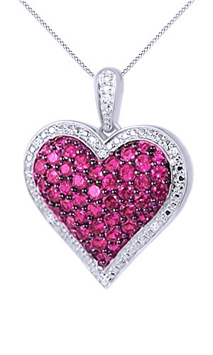 1 Ct. Simulated Ruby & Natural Diamond Heart Pendant Necklace 14k White Gold Over Sterling Silver