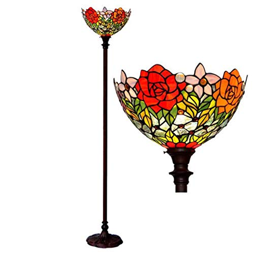Rose Handcrafted Lamp - 15-Inch Tiffany Style Floor Lamp, Rose Design Handcrafted Stained Glass Floor Lights with Metal Base, Antique Luxury Standing Lighting for Parlour Bedchamber Study, BOSS LV