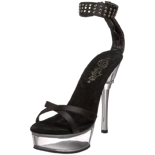 Femmes Clr ALL660 Satin Pleaser B Blk Sandales SAT 8nzn0