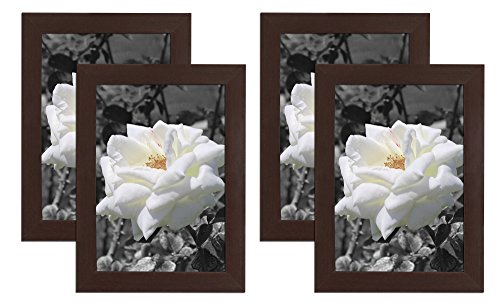 Golden State Art Set of 4, 5x7 Simple Wood Picture Frame - Table/Desk Top - Easel Stand - Back Hanger - Wall Display -Walnut Color - Real Glass 5x7 (4-Pack), Walnut by Golden State Art (Image #3)