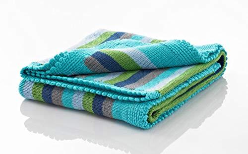 Pebble | Handmade Baby Blanket - Blue Stripey | Cotton | Heirloom | Fair Trade | Machine Washable