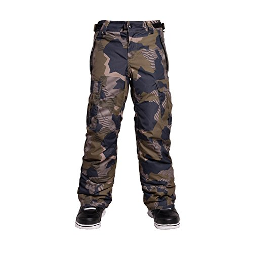 686 Boys All Terrain Insulated Pants, Olive Geo Camo, X-Large by 686