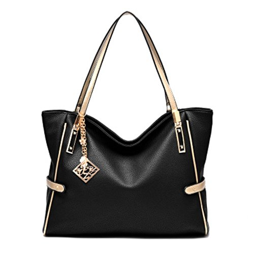 Cloudbag HB30135 PU Leather Handbag for Women,Leisure Solid Tote - 2016,Black